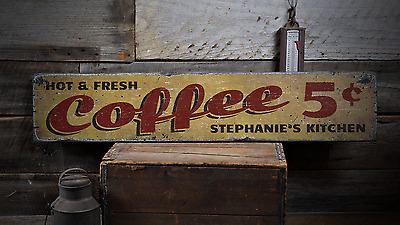 hot and fresh coffee, custom 5 cent cups  rustic distressed wood sign ens1001782