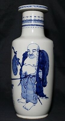 Very Large Rare Old Chinese B/w Porcelain Rouleau Bottle Vase Marks Fa330