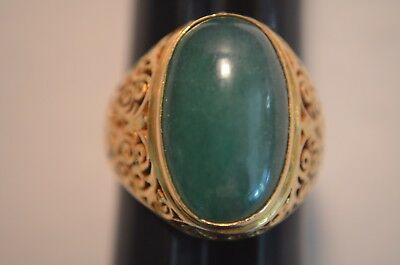 Old Chinese Green Jade And 22 K Gold Ring. (1920) Years
