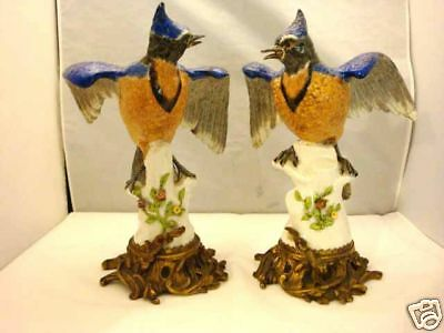 Antique Pair Of Gilt Mounted Samson Porcelain Birds