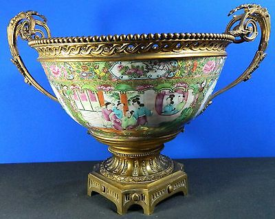 1850-1899 Multi-color Porcelain Canton Bowl Bronze Stand China