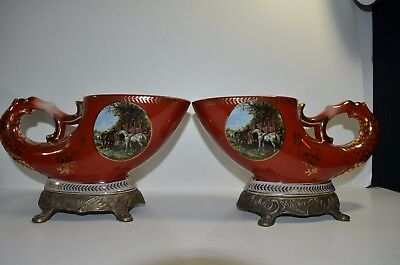 Rare A Pair Antique Chinese Porcelain Export Famille Rose W/ Bronze Flower Vase