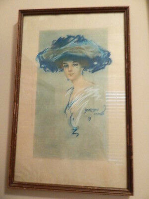 Original Watercolor And Pastel Lady In Hat Signed Norman Mingo, 1911