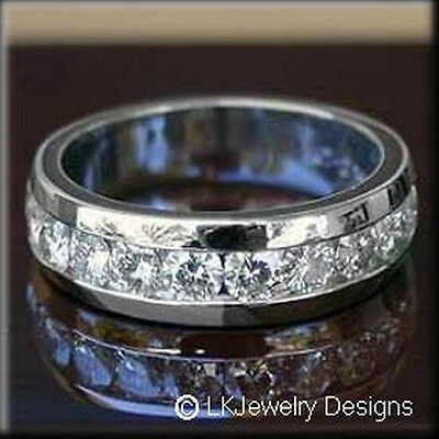 2.00 ct moissanite round forever one ghi semi eternity wedding band ring