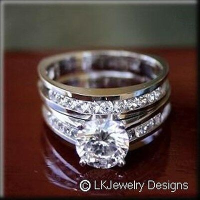 3.65 ct moissanite round forever one ghi channel band wedding set rings