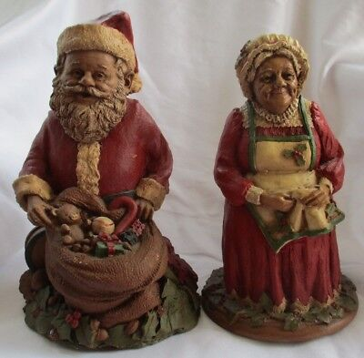 Vintage Tom Clark Gnomes Santa And Mrs Claus Signed Figurines