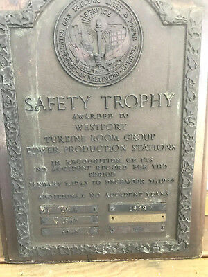 old 1943 45 collectible bronze safety trophy plaque baltimore gas