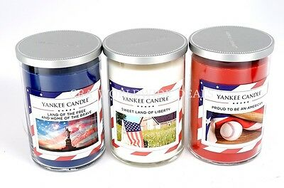 New Yankee Candle Lot 3 Fourth Of July Set Red White Blue 2 Wick Candle