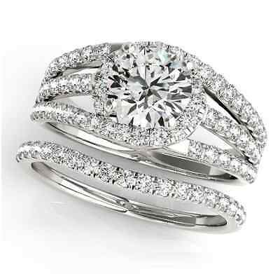 2.55 ct forever one moissanite round micro pave tri band wedding set ring