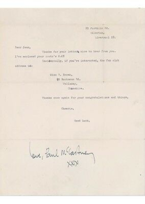 1962/3 early letter sent and signed by paul mccartney from forthlin rd the beatles