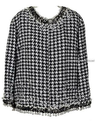 collectible chanel 10p classic tweed pearl coat jacket 50 48 new blazer rare