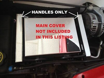 Fits Corvette C7 2014-2019 2 Pc Fuse Box Handle Covers Stainless Steel Chrome
