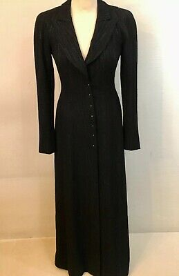 Chanel Vintage Super Long Black Tweed Coat Pearl Buttons A02 Very Rare Runway