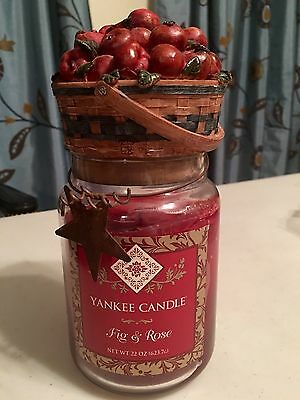 Fig & Rose Yankee Candle Rare Label 22 Oz Jar Htf Apple Bushel Lid