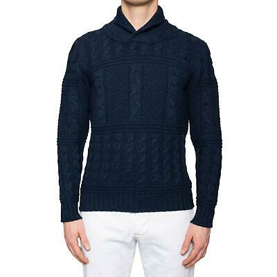 kiton blue cashmere chunky cable knit shawl collar sweater 50 new m