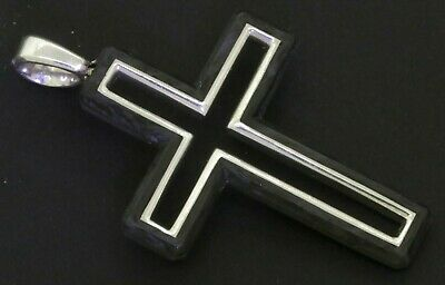 David Yurman New Sterling Silver/forged Carbon Cross Crucifix Pendant