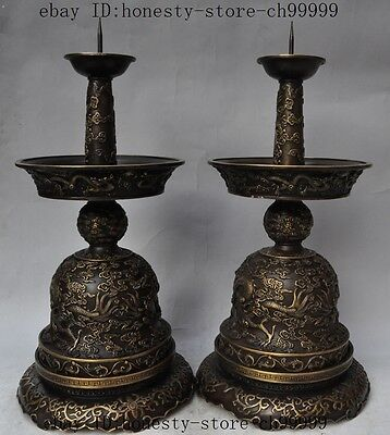 """20"""" Marked China Bronze Dragon Beast Play Bead Statue Candlesticks Candle Holder"""