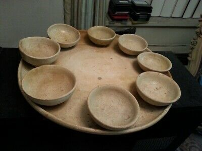 rare tang dynasty [618  906] straw glazed pottery offering set ; 8 cups tray !!