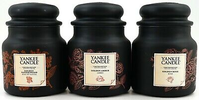 New 3 Set Yankee Candle European Excl Golden Amber Sandalwood Rose 14.5oz Candle