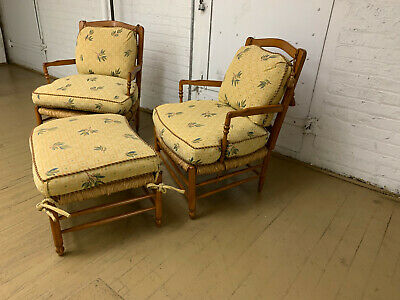 Vintage Mid Century Brunschwig & Fils French Country Arm Chairs And Ottoman