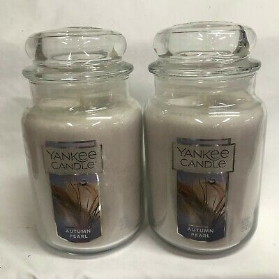 Yankee Candle (2) Autumn Pearl Large 22 Oz Jar Candles Orchid, Vanilla, Freesia