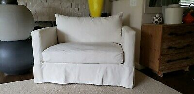 Crate And Barrel Willow Slipcovered Sleeper Chair And A 1/2