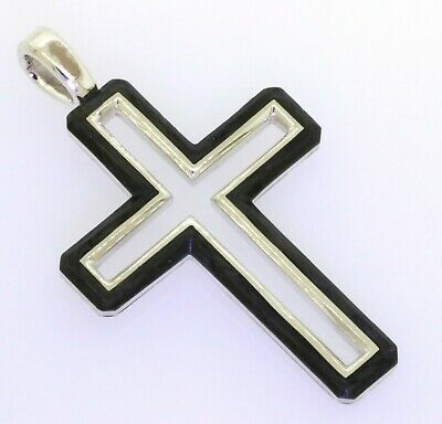 David Yurman New Sterling Silver/forged Carbon Cross/crucifix Pendant