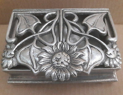 Metal Jewerly Box / Soap Holder Vintage Silver Tone Heavy Footed Flower Design