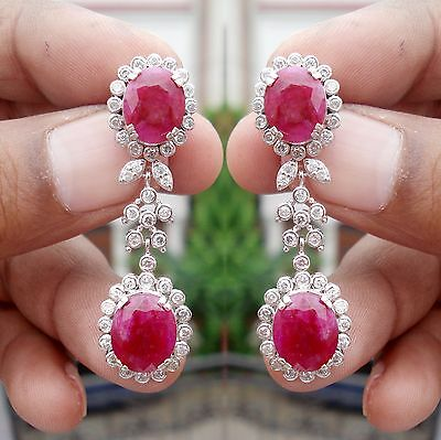 2.15ct Diamond 14k White Gold Ruby Very Pretty Bridal Earrings
