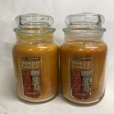 Yankee Candle (2) Harvest Large 22 Oz Jar Candles Pumpkin, Cinnamon, Clove Apple