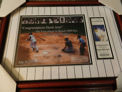 20x14 Framed & Yankee Matted Derek Jeter 3000 Hit Ticket And Limited Ed. Photo