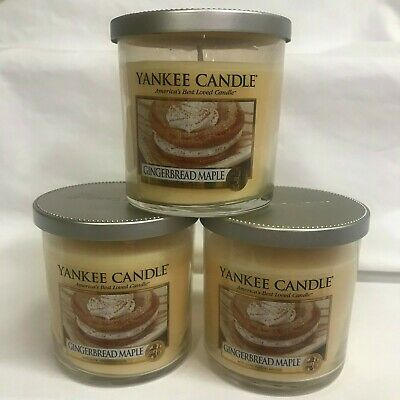 Yankee Candle (3) Gingerbread Maple Small 7 Oz Jar Candles Three!! Retired!