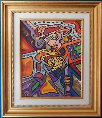 'walking Man' Original Cubist Oil Painting On Canvas By Peter Atkins.