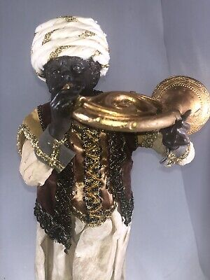 """Htf Dept 56 Neapolitan Nativity 11"""" Musician With French Horn *very Rare* Nrfb"""