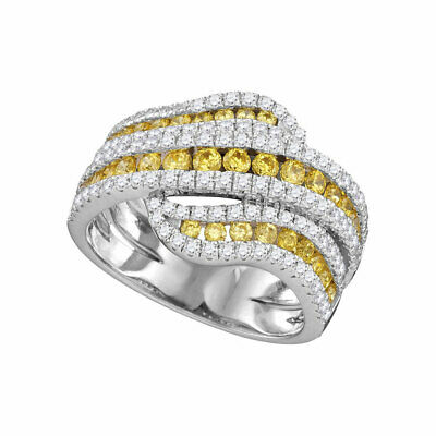 14kt White Gold Womens Round Natural Canary Yellow Diamond Crossover Band Ring