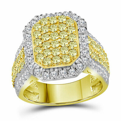 14kt Yellow Gold Womens Round Canary Yellow Diamond Rectangle Cluster Ring