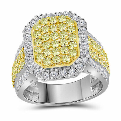 14kt White Gold Womens Round Canary Yellow Diamond Rectangle Cluster Ring