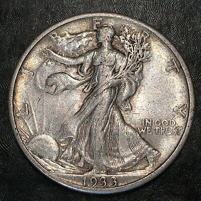 1933-s Walking Liberty Half Dollar - Totally Original - High Quality Scans #h871