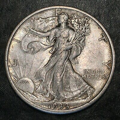1933-s Walking Liberty Half Dollar - Totally Original - High Quality Scans #h874