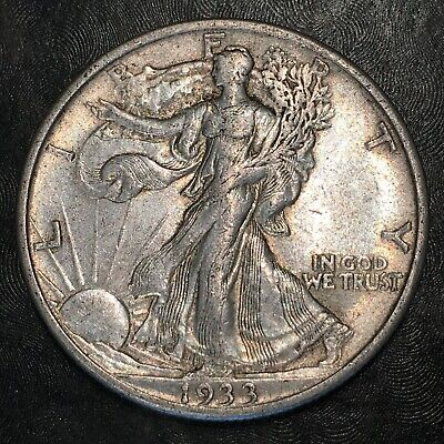 1933-s Walking Liberty Half Dollar - Totally Original - High Quality Scans #h875
