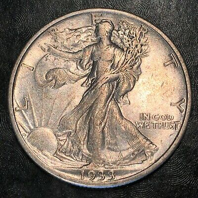1933-s Walking Liberty Half Dollar - Totally Original - High Quality Scans #h878