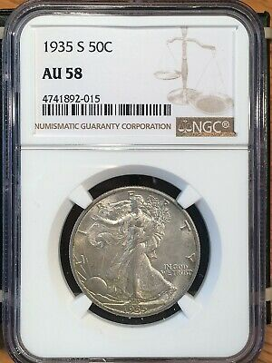 1935-s Walking Liberty Half - Ngc  Au 58 - High Quality Scans #2015