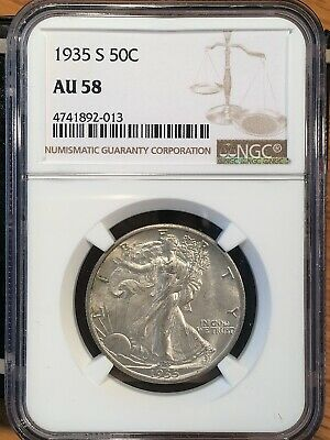 1935-s Walking Liberty Half - Ngc  Au 58 - High Quality Scans #2013