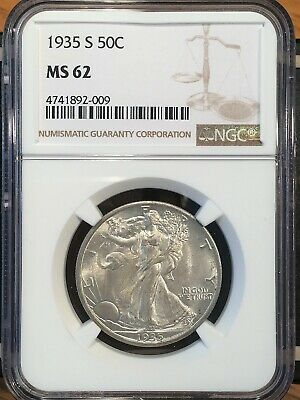1935-s Walking Liberty Half - Ngc  Ms 62 - High Quality Scans #2009