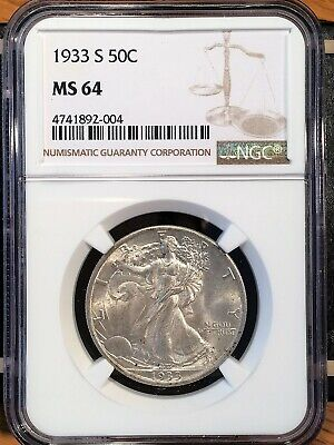 1933-s Walking Liberty Half - Ngc  Ms 64 - High Quality Scans #2004