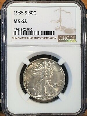 1935-s Walking Liberty Half - Ngc  Ms 62 - High Quality Scans #2016