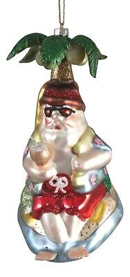Santa Under A Palm Tree Christmas Holiday Ornament