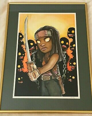 Michonne (walking Dead) Original Watercolor Art - Christopher Uminga Artist 1/1