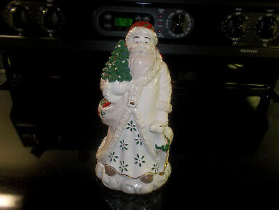 Guc Palm Tree Porcelain Ivory Santa Claus W Fawn Teddy & Sack Christmas Figurine