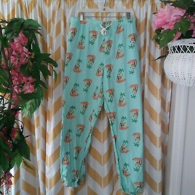 Old Navy Ladies Plus Size 4x Green Red Santa Palm Tree Christmas Pajama Pants